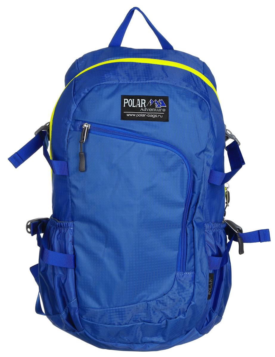 Рюкзак городской Polar, 17 л, цвет: голубой. П2171-10П2171-10Городской рюкзак Polar с модным дизайном изготовлен из водоотталкивающей ткани RipStop. Имеет один большой отдел, внутри которого расположен небольшой карман на молнии и большой открытый карман на резинке. Снаружи накладной карман на молнии с расположенным внутри органайзером. По бокам расположены карманы на резинках. Также имеются боковые стяжки для регулирования объема рюкзака. Удобная мягкая спинка, мягкие плечевые лямки создают дополнительный комфорт при ношении. На лямках расположена грудная стяжка, регулируемая по необходимой высоте и длине. Сверху петля для переноски.
