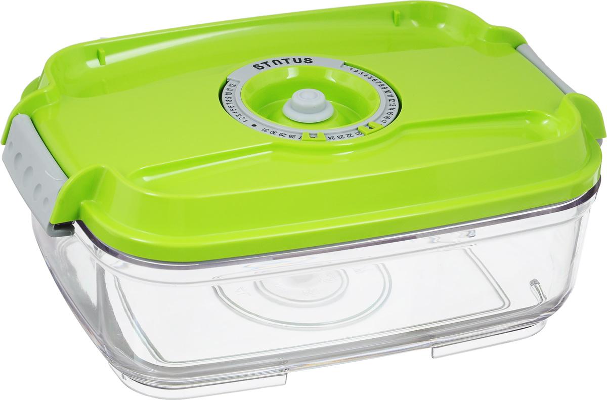 Контейнер вакуумный Status, с индикатором даты срока хранения, цвет: прозрачный, салатовый, 1,4 лVAC-REC-14 GreenВакуумный контейнер Status выполнен из хрустально-прозрачного прочного тритана. Благодаря вакууму, продукты не подвергаются внешнему воздействию, и срок хранения значительно увеличивается, сохраняют свои вкусовые качества и аромат, а запахи в холодильнике не перемешиваются. Допускается замораживание до -21°C, мойка контейнера в посудомоечной машине, разогрев в СВЧ (без крышки). Рекомендовано хранение следующих продуктов: макаронные изделия, крупа, мука, кофе в зёрнах, сухофрукты, супы, соусы. Контейнер имеет индикатор даты, который позволяет отмечать дату конца срока годности продуктов. Размер контейнера (с учетом крышки): 22,5 х 15,5 х 8,5 см.