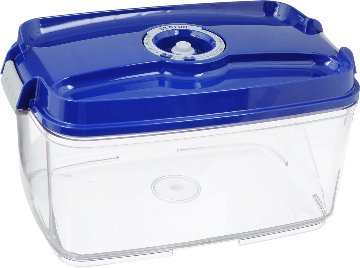 Контейнер вакуумный Status, с индикатором даты срока хранения, цвет: прозрачный, синий, 4,5 лVAC-REC-45 BlueВакуумный контейнер Status выполнен из хрустально-прозрачного прочного тритана. Благодаря вакууму, продукты не подвергаются внешнему воздействию, и срок хранения значительно увеличивается, сохраняют свои вкусовые качества и аромат, а запахи в холодильнике не перемешиваются. Допускается замораживание до -21°C, мойка контейнера в посудомоечной машине, разогрев в СВЧ (без крышки). Рекомендовано хранение следующих продуктов: макаронные изделия, крупа, мука, кофе в зёрнах, сухофрукты, супы, соусы. Контейнер имеет индикатор даты, который позволяет отмечать дату конца срока годности продуктов. Размер контейнера (с учетом крышки): 29,5 х 18,5 х 15,5 см.