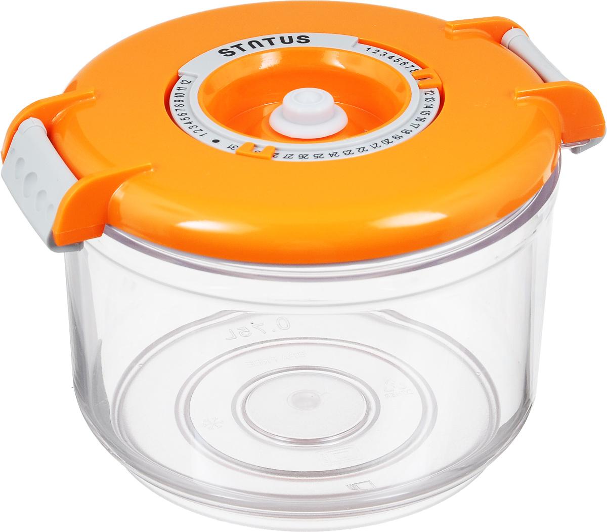 Контейнер вакуумный Status, с индикатором даты срока хранения, 0,75 лVAC-RD-075 OrangeВакуумный контейнер Status выполнен из хрустально-прозрачного прочного тритана. Благодаря вакууму, продукты не подвергаются внешнему воздействию, и срок хранения значительно увеличивается, сохраняют свои вкусовые качества и аромат, а запахи в холодильнике не перемешиваются. Допускается замораживание до -21°C, мойка контейнера в посудомоечной машине, разогрев в СВЧ (без крышки). Рекомендовано хранение следующих продуктов: макаронные изделия, крупа, мука, кофе в зёрнах, сухофрукты, супы, соусы. Контейнер имеет индикатор даты, который позволяет отмечать дату конца срока годности продуктов. Размер контейнера (с учетом крышки): 13 х 13 х 10 см.