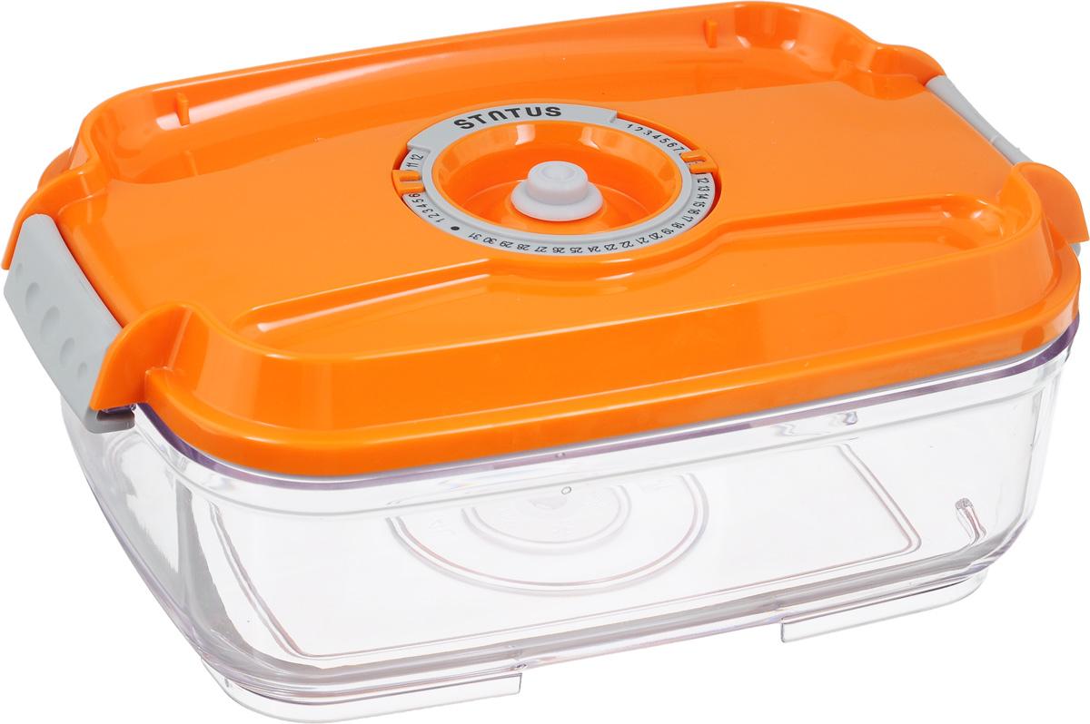 Контейнер вакуумный Status, с индикатором даты срока хранения, цвет: прозрачный, оранжевый, 1,4 лVAC-REC-14 OrangeВакуумный контейнер Status выполнен из хрустально-прозрачного прочного тритана. Благодаря вакууму, продукты не подвергаются внешнему воздействию, и срок хранения значительно увеличивается, сохраняют свои вкусовые качества и аромат, а запахи в холодильнике не перемешиваются. Допускается замораживание до -21°C, мойка контейнера в посудомоечной машине, разогрев в СВЧ (без крышки). Рекомендовано хранение следующих продуктов: макаронные изделия, крупа, мука, кофе в зёрнах, сухофрукты, супы, соусы. Контейнер имеет индикатор даты, который позволяет отмечать дату конца срока годности продуктов. Размер контейнера (с учетом крышки): 22,5 х 15,5 х 8,5 см.