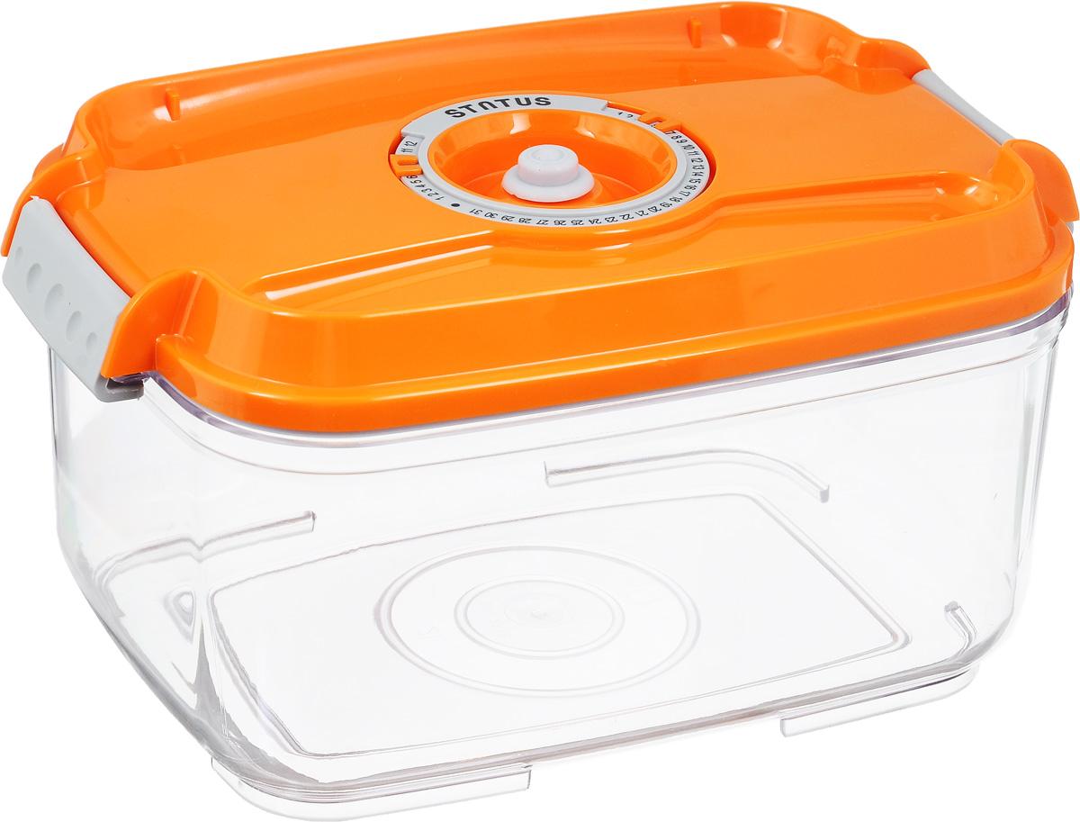 Контейнер вакуумный Status, с индикатором даты срока хранения, цвет: прозрачный, оранжевый, 2 лVAC-REC-20 OrangeВакуумный контейнер Status выполнен из хрустально-прозрачного прочного тритана. Благодаря вакууму, продукты не подвергаются внешнему воздействию, и срок хранения значительно увеличивается, сохраняют свои вкусовые качества и аромат, а запахи в холодильнике не перемешиваются. Допускается замораживание до -21°C, мойка контейнера в посудомоечной машине, разогрев в СВЧ (без крышки). Рекомендовано хранение следующих продуктов: макаронные изделия, крупа, мука, кофе в зёрнах, сухофрукты, супы, соусы. Контейнер имеет индикатор даты, который позволяет отмечать дату конца срока годности продуктов. Размер контейнера (с учетом крышки): 22,5 х 15,5 х 11,5 см.