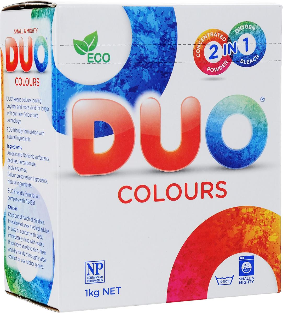 Стиральный порошок Duo Colours, для цветных и темных тканей, концентрированный, 1 кг14010Концентрированный стиральный порошок Duo Colours предназначен для стирки цветных и темных тканей. Двойная степень защиты цвета сохраняет все краски цветного и темного белья, защищает от ультрафиолета. Особенности порошка Reflect Colours: - обладает высокой моющей способностью в широком диапазоне температур (от 10°C до 100°C), - предупреждает образование накипи на водонагревательном элементе, - обладает дезинфицирующими свойствами, устраняет неприятные запахи, - удаляет пятна и загрязнения различного происхождения, не повреждая структуру ткани, - гипоаллергенный, на основе биоразлагаемых компонентов, - экологически чистый, не содержит форфатов, хлора и отдушек, - подходит для всех типов ткани, кроме шерсти, пуха и натурального шелка, - универсальный - для машинной и ручной стирки. Товар сертифицирован.