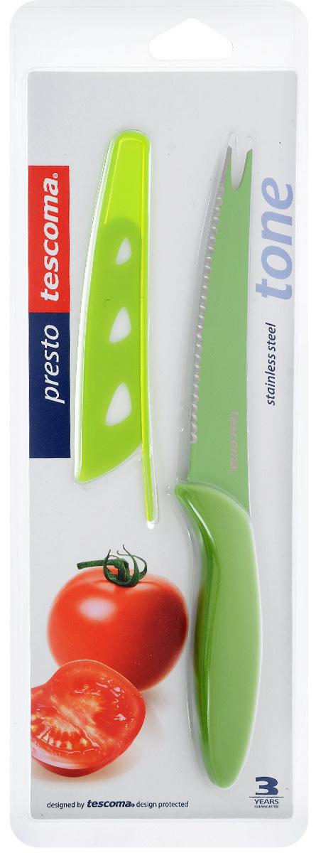 Нож для нарезки овощей Tescoma Presto Tone, с чехлом, цвет: салатовый, длина лезвия 12 см863084_салатовыйНож Tescoma Presto Tone предназначен специально для бережного нарезания овощей. Лезвие выполнено из высококачественной нержавеющей стали с антиадгезивным покрытием, а ручка из прочного пластика. Продукты не прилипают к лезвию. Изделие легко чиститься. В комплект входит защитный чехол для бережного хранения. Можно мыть в посудомоечной машине, не рекомендуется использовать металлические губки и абразивные чистящие средства. Общая длина ножа: 23 см. Длина лезвия: 12 см.
