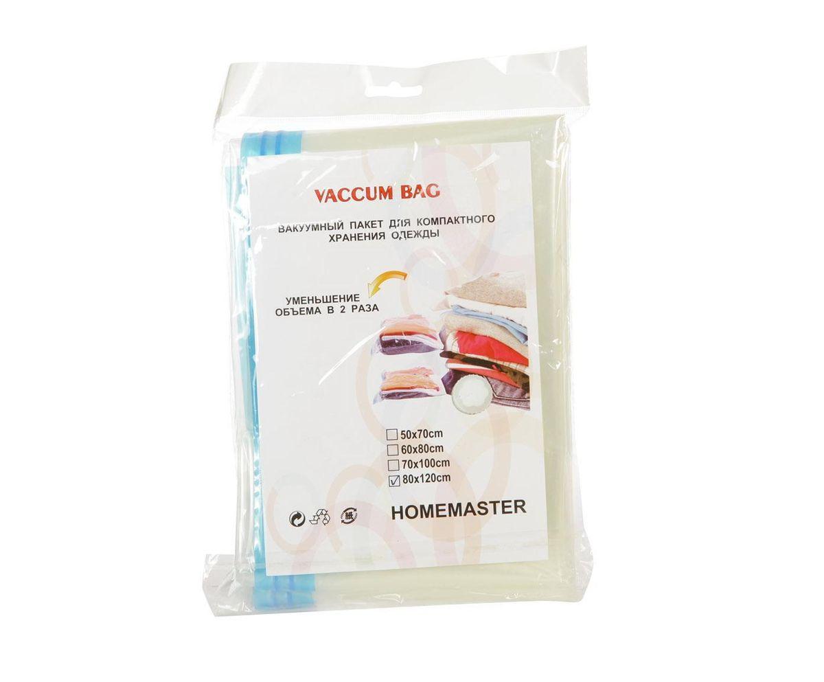 Вакуумный пакет HomeMaster, цвет: прозрачный, 80 х 120 х 1 смSO-253 / 80X120Вакуумный компрессионный чехол предназначен для компактного хранения и транспортировки постельного белья, одежды, мягких игрушек. Позволяет уменьшить объём занимаемого пространства на 80%. Работает со всеми видами пылесосов. Вакуумный пакет позволяет защитить находящуюся в нём вещь от воды, грязи, пыли, насекомых, плесени, запаха. Вакуумный чехол применяется для любого вида ткани и материала. Пакеты изготовлены из полиэтилена высокой плотности.