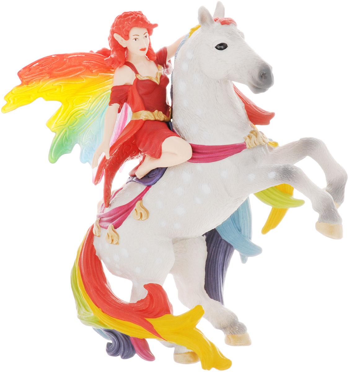 Schleich Фигурка Амизи70483Фигурка Schleich Амизи станет прекрасным подарком для вашего ребенка. Она выполнена из высококачественного пластика материала в виде красивого лесного эльфа с радужными крылышками и огненно-рыжими волосами. Благодаря встроенному магниту фигурка эльфийки надежно держится на лошади. Ваш ребенок будет часами играть с этой фигуркой, придумывая различные истории с участием любимого героя. Амизи - смелый и талантливый всадник. Она любит придумывать различные трюки и выполнять их верхом на своей любимой лошади.