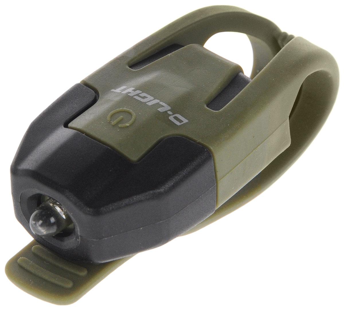 Фонарь велосипедный D-Light CG-210W, габаритный, передний, цвет: хаки, черныйCG-210W-BK+GNЗадний габаритный велофонарь с рассеянным светом D-Light CG-210W предназначен для обеспечения большей безопасности при поездках в темное время суток. Он легко крепится и снимается без дополнительных инструментов на основу диаметром 18-32 мм. Корпус изделия выполнен из прочного пластика. Фонарь имеет 2 режима: мигание и постоянное свечение. Изделие водонепроницаемо. Фонарь питается от 1 батареи типа CR2032 (входит в комплект). Время свечения: 70 ч. Время мигания: 40 ч. Размер фонаря (без учета крепления): 4 х 2,5 х 1,3 см.