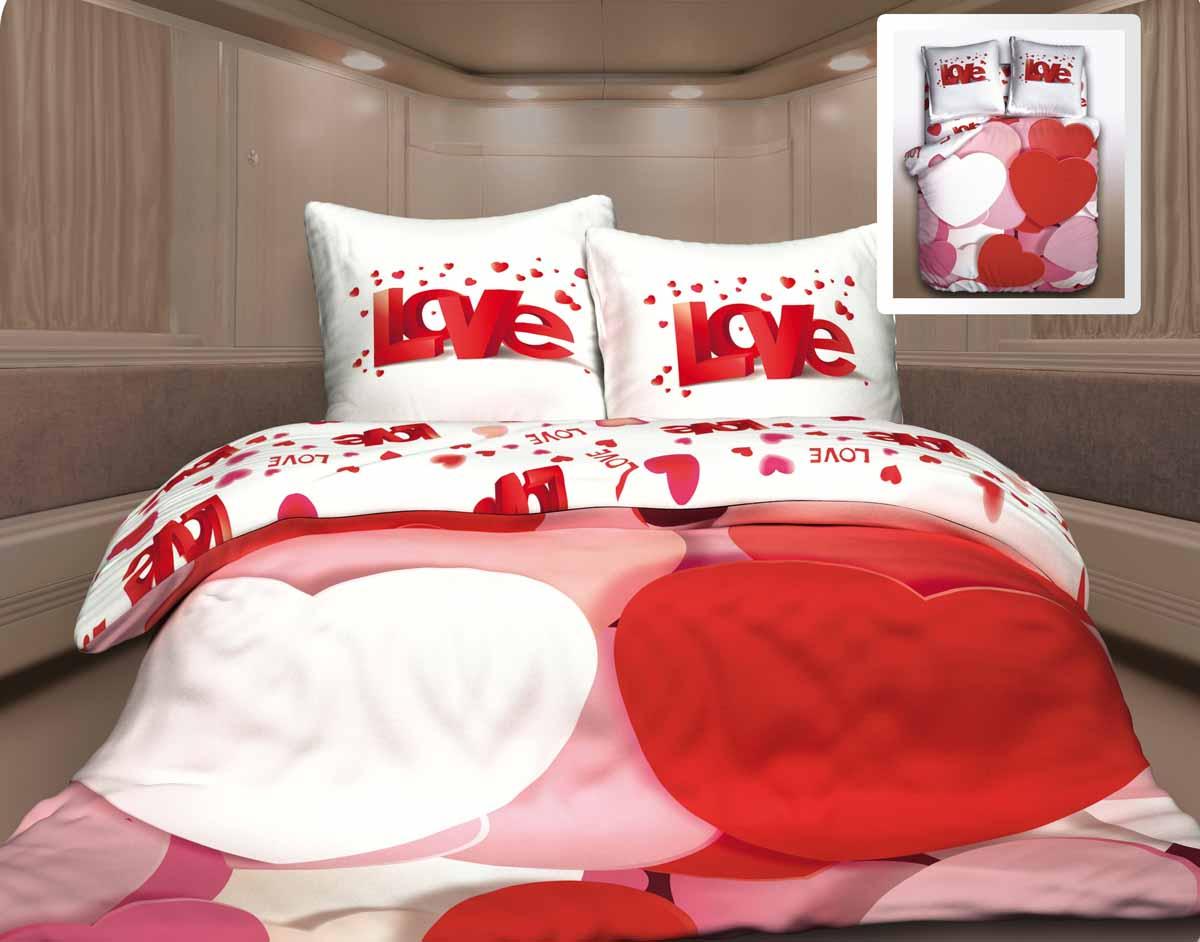 Комплект белья Unison Амур, 1,5-спальный, наволочки 70x70, цвет: красный212617