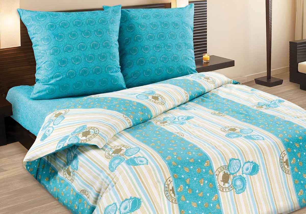 Комплект белья Wenge Ocean, 1,5-спальный, наволочки 70x70, цвет: бирюзовый263540