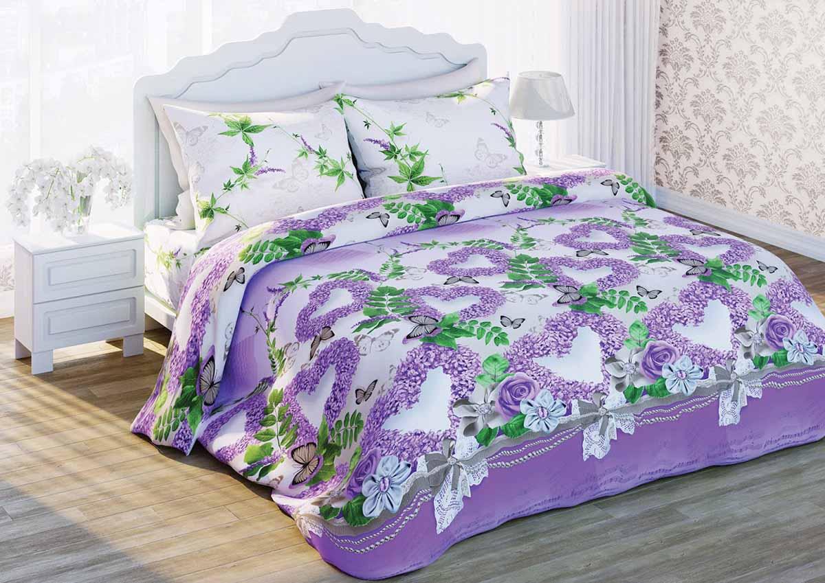 Комплект белья Любимый дом Нежная сирень, 2-спальный, наволочки 70x70, цвет: сиреневый279526