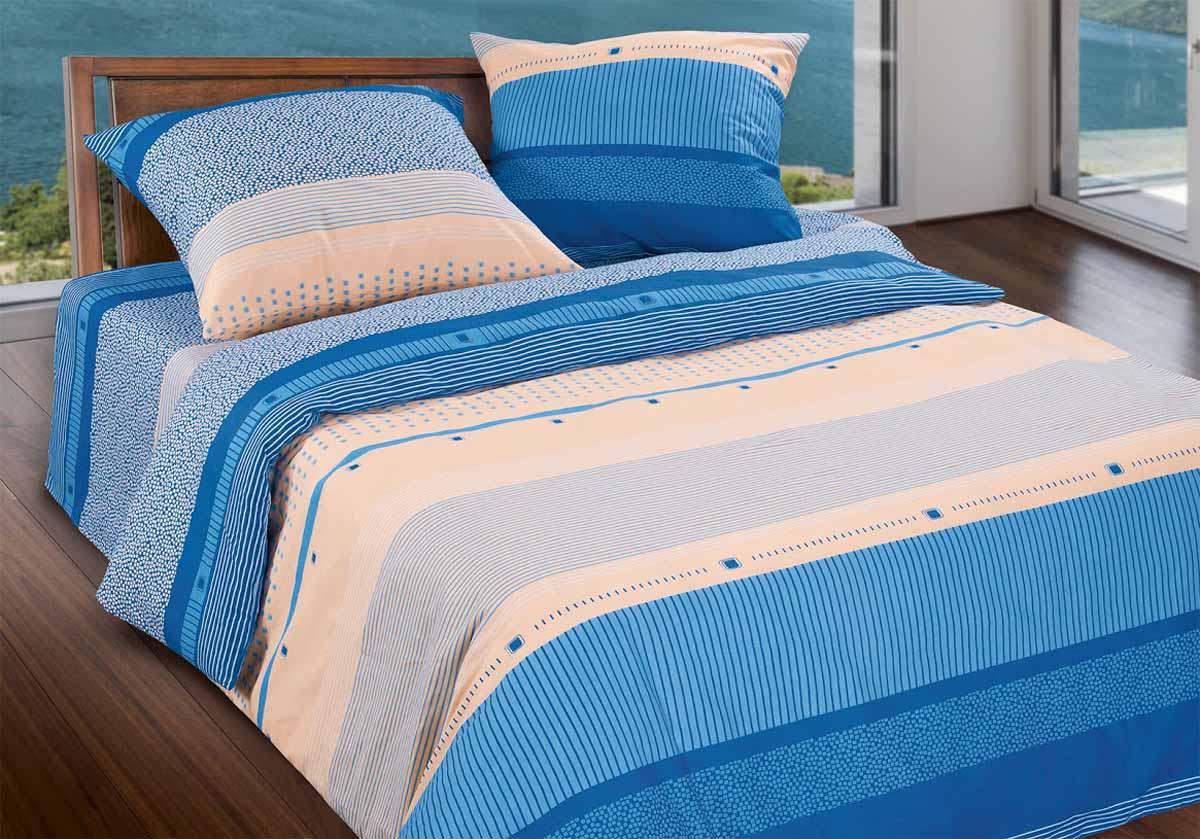 Комплект белья Wenge Line, 2-спальный, наволочки 70x70, цвет: синий299473