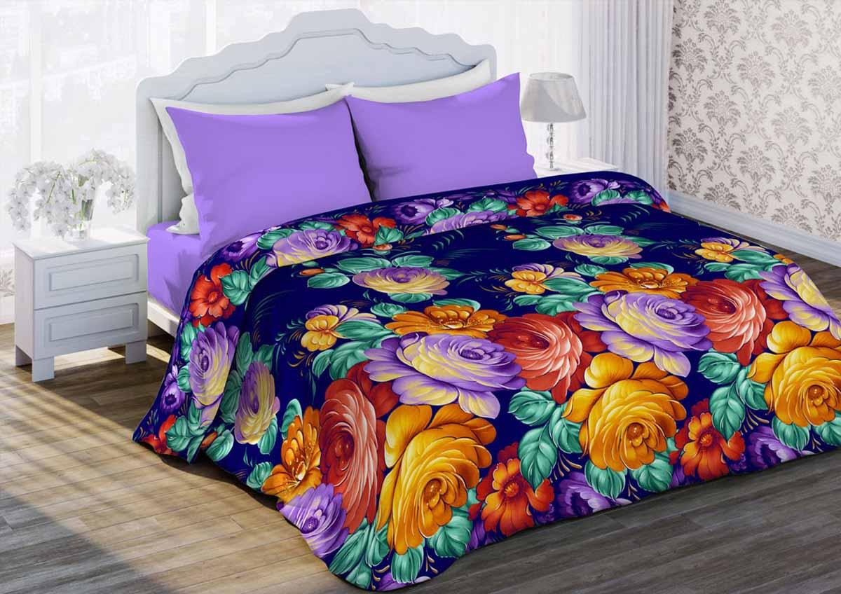Комплект белья Любимый дом Жостово, 1,5-спальный, наволочки 70x70, цвет: фиолетовый317215