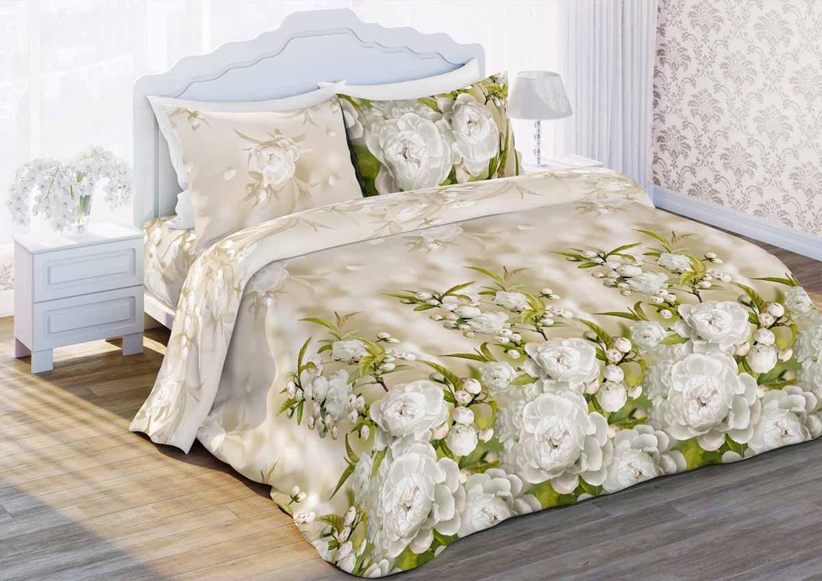 Комплект белья Любимый дом Яблоневый цвет, 2-спальный, наволочки 70x70, цвет: бежевый323878