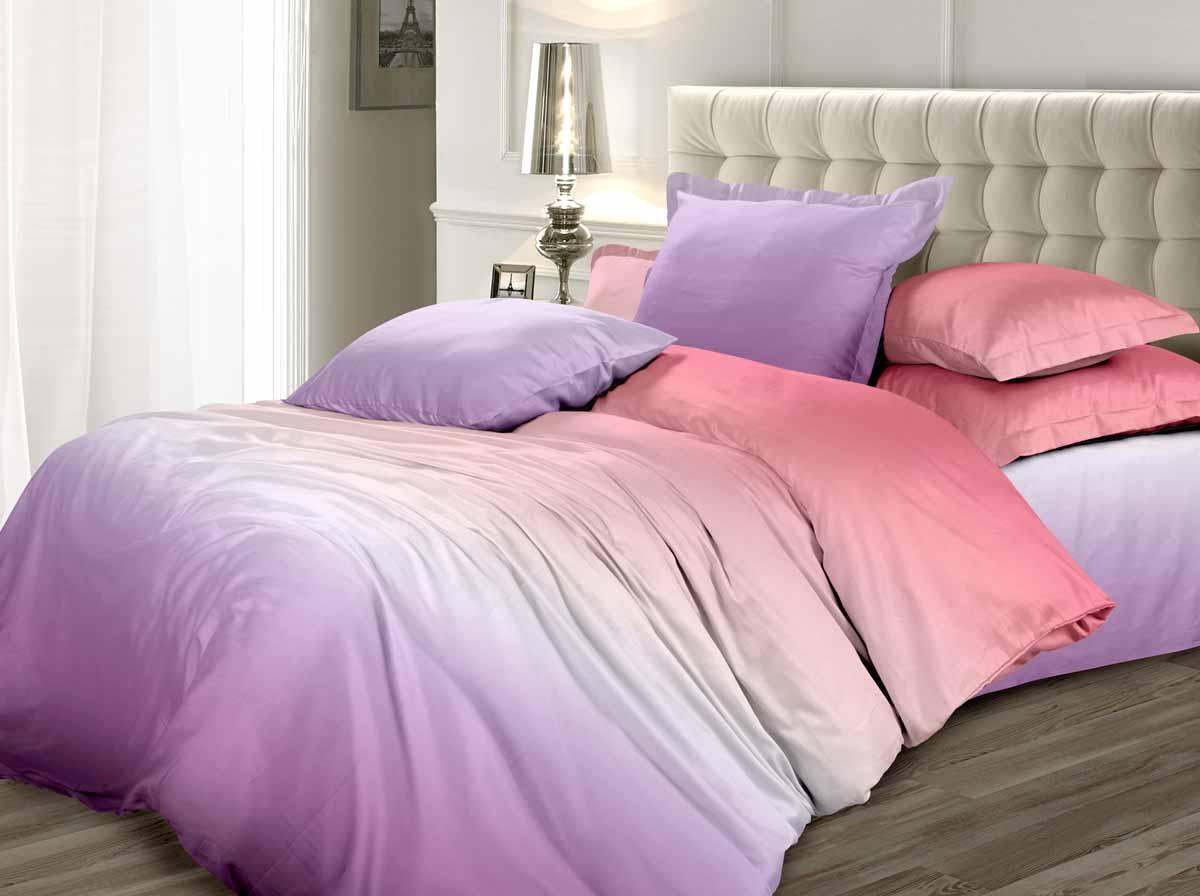 Комплект белья Унисон Ирис, 1,5-спальный, наволочки 70x70, цвет: розовый338574