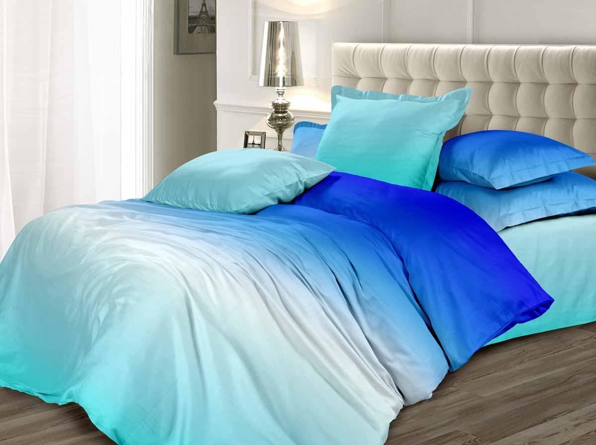 Комплект белья Унисон Небесный перезвон, 1,5-спальный, наволочки 70x70, цвет: голубой338579