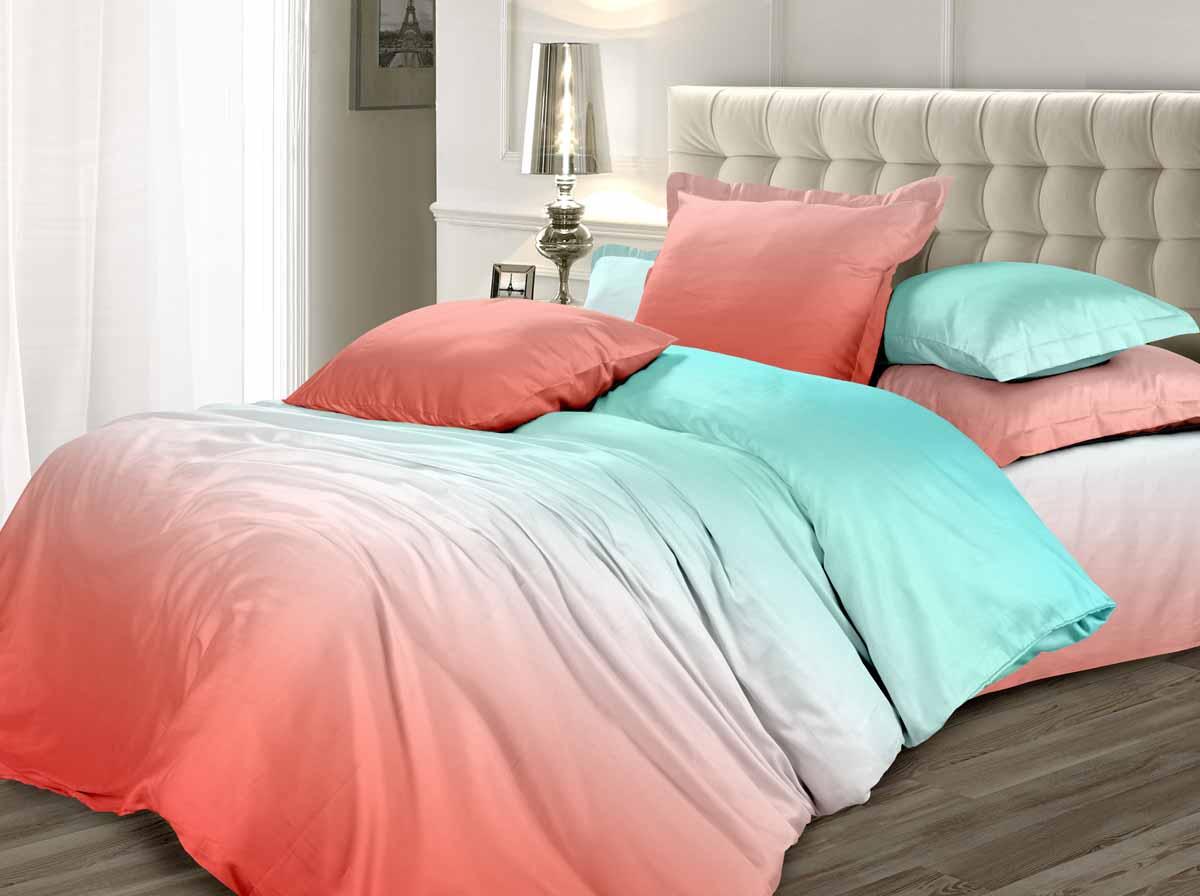 Комплект белья Унисон Коралловые рифы, 1,5-спальный, наволочки 70x70, цвет: коралловый338583