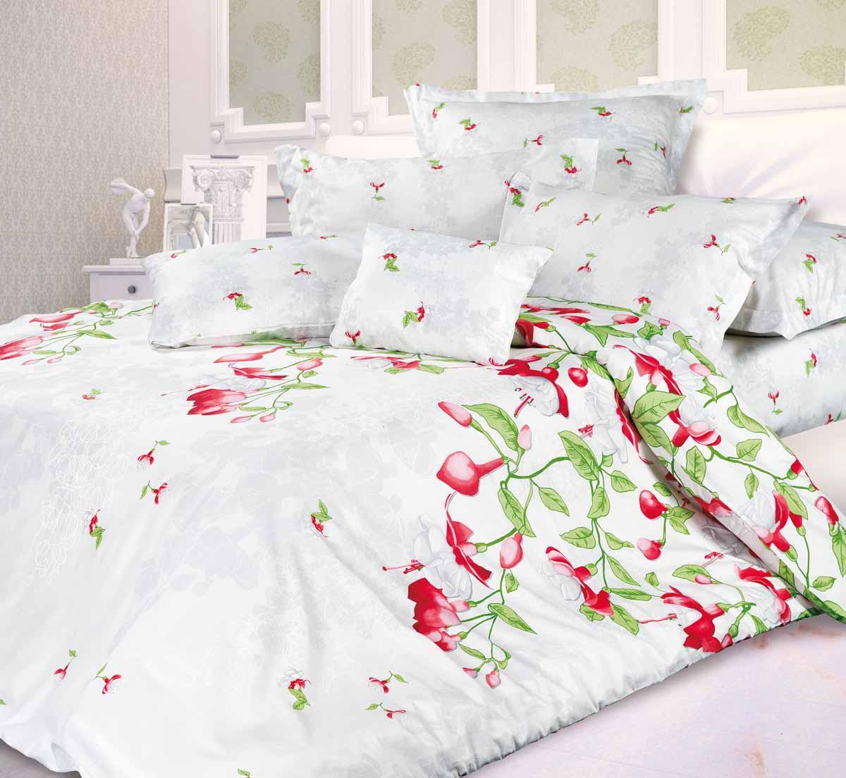 Комплект белья Унисон Фуксия, 2-спальный, наволочки 70x70, цвет: белый339573