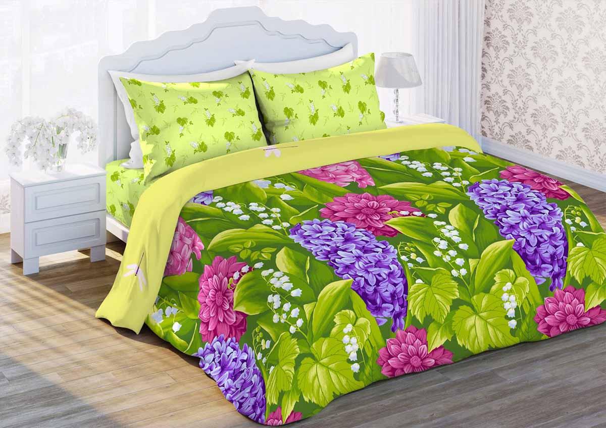 Комплект белья Любимый дом Гиацинт, 1,5-спальный, наволочки 70x70, цвет: зеленый343250