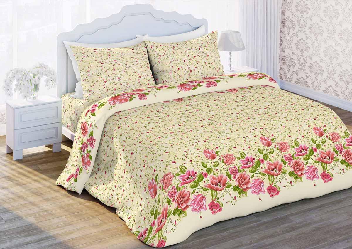 Комплект белья Любимый дом Тюльпаны, 2-спальный, наволочки 70x70, цвет: бежевый343305