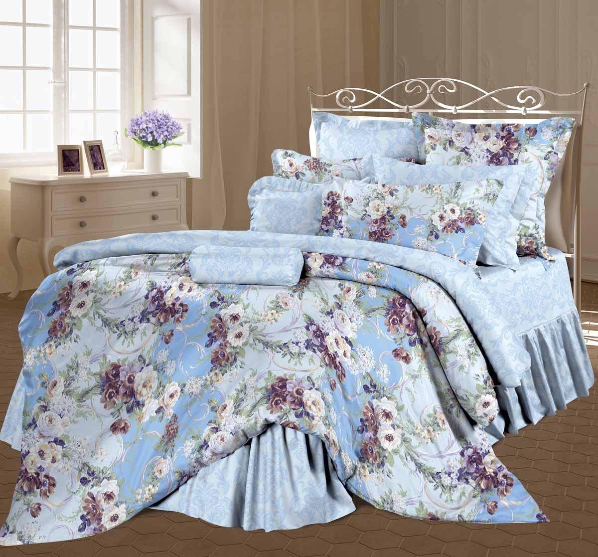 Комплект белья Романтика Мелани, евро, наволочки 70x70, цвет: голубой345221