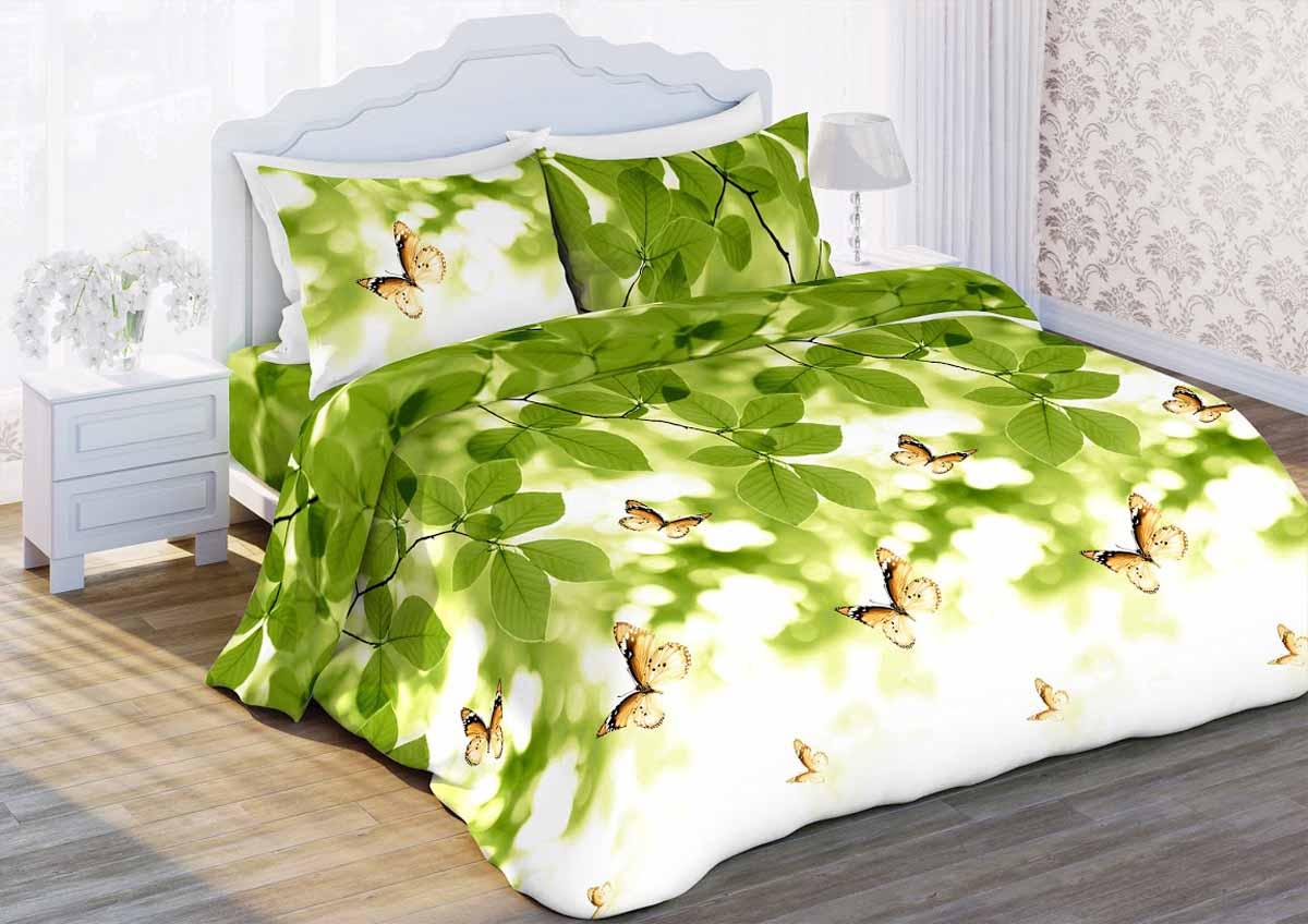 Комплект белья Любимый дом Листья, 2-спальный, наволочки 70x70, цвет: зеленый348085