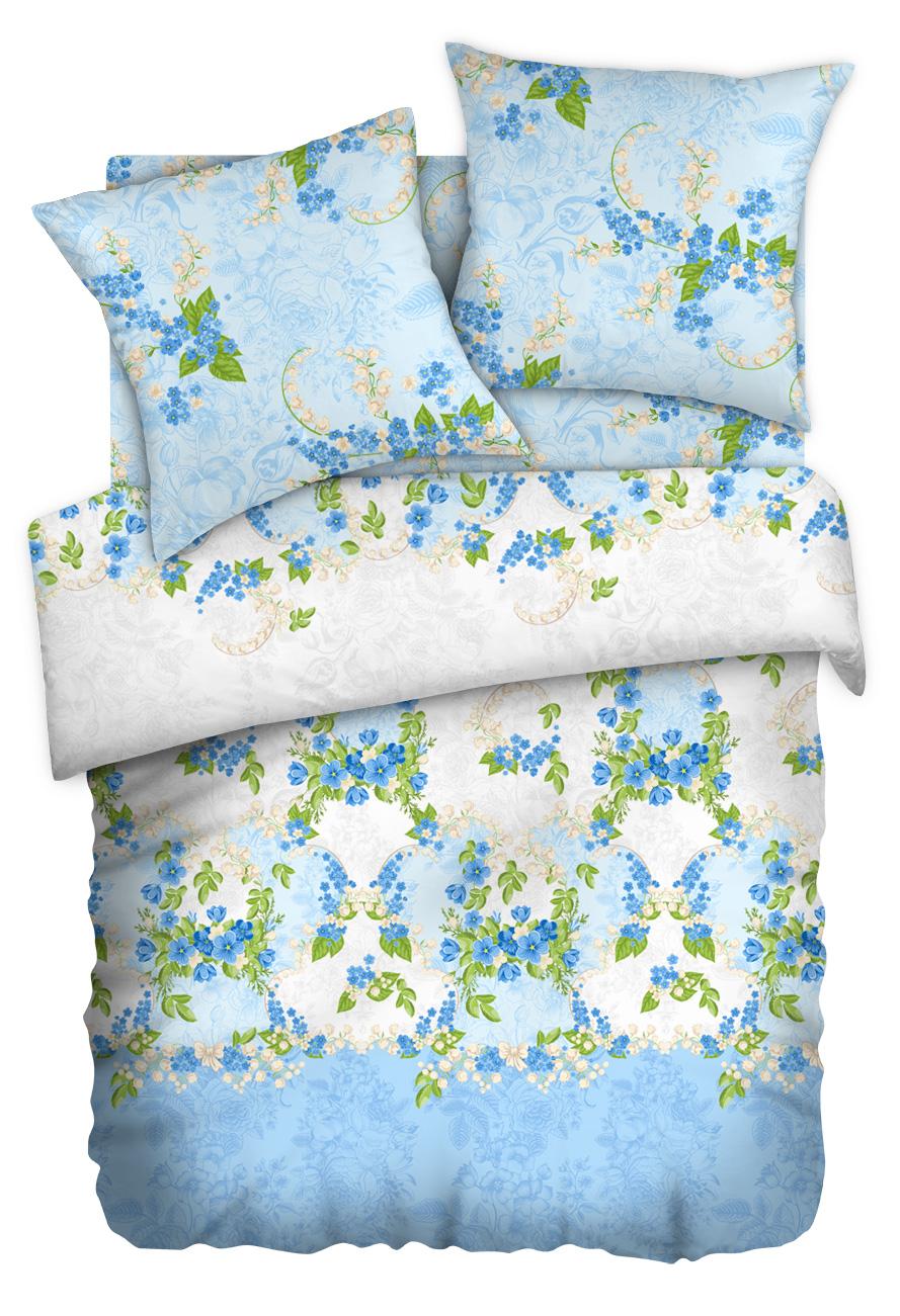 Комплект белья Любимый дом Ландыш майский, 1,5-спальный, наволочки 50x70, цвет: голубой351199