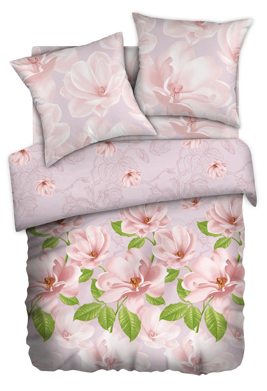 Комплект белья Любимый дом Магнолия жемчужная, 1,5-спальный, наволочки 50x70, цвет: светло-розовый351200