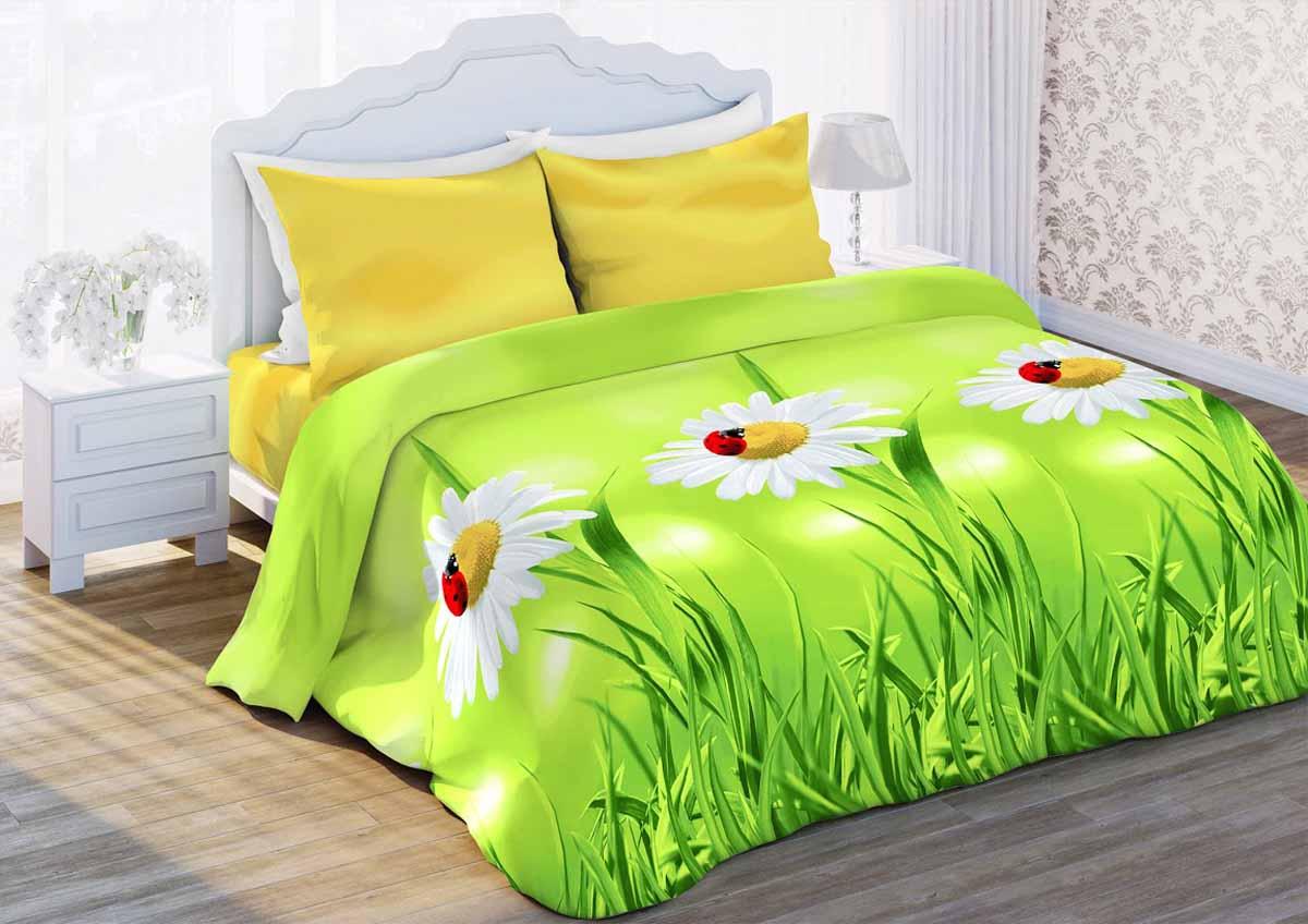Комплект белья Любимый дом Ромашки луговые, 2-спальный, наволочки 50x70, цвет: зеленый352590