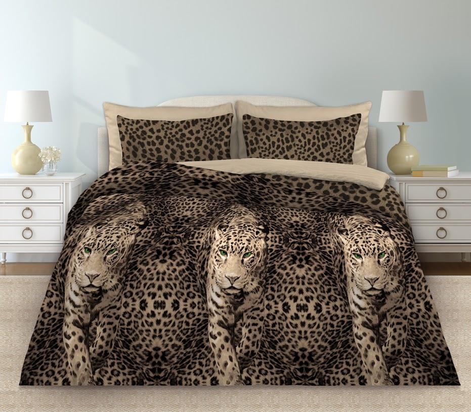 Комплект белья Любимый дом Леопард, 2-спальный, наволочки 70x70, цвет: коричневый355145