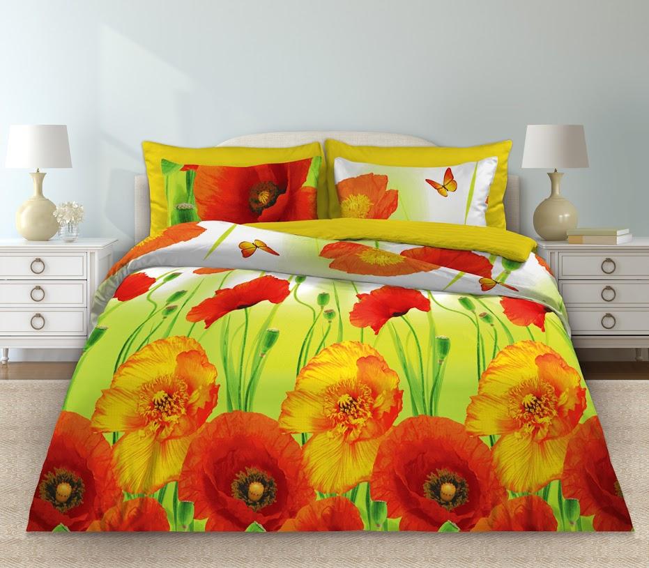 Комплект белья Любимый дом Маки, 2-спальный, наволочки 70x70, цвет: зеленый355146