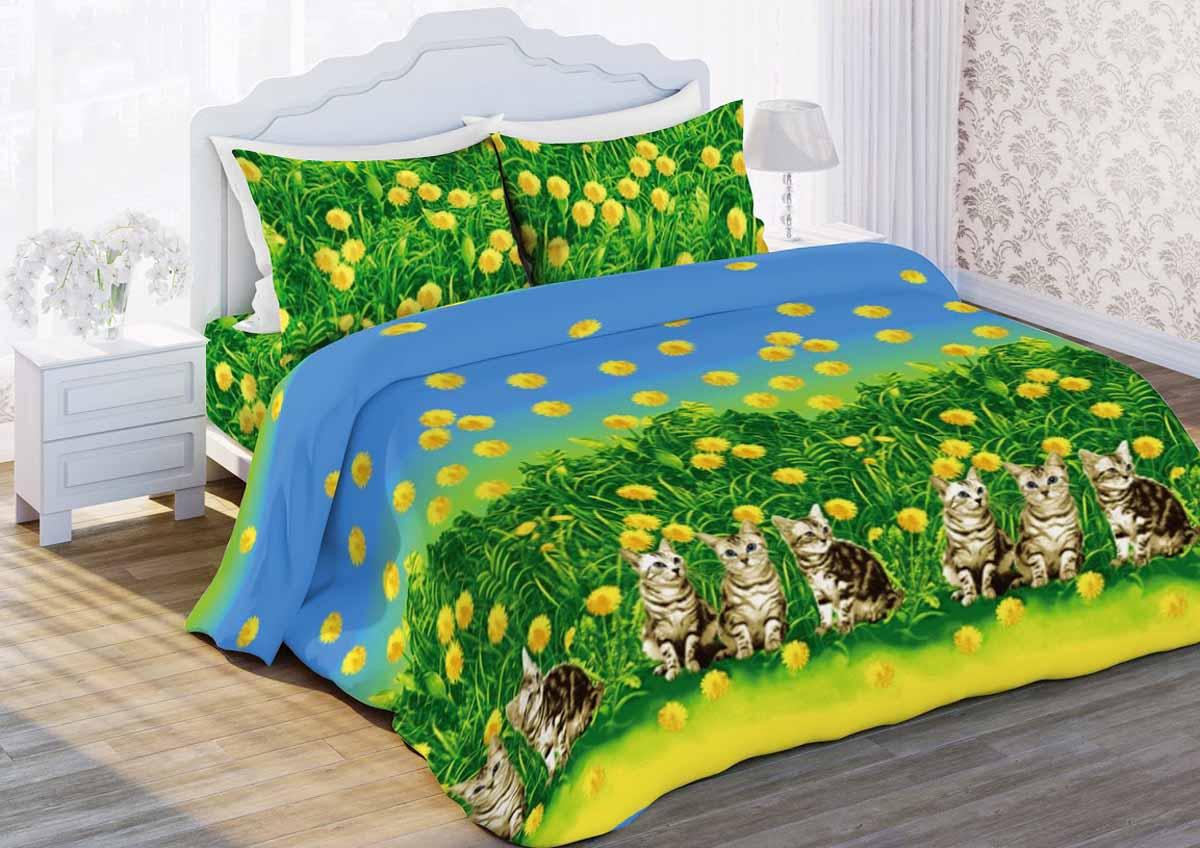 Комплект белья Любимый дом Котята, 1,5-спальный, наволочки 70x70, цвет: зеленый356266