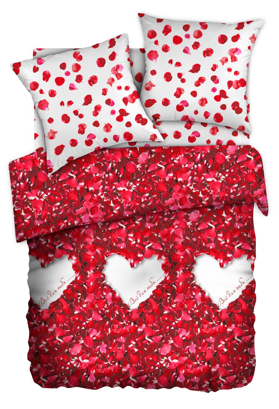 Комплект белья Любимый дом Лепестки роз, 1,5-спальный, наволочки 50x70, цвет: красный357449