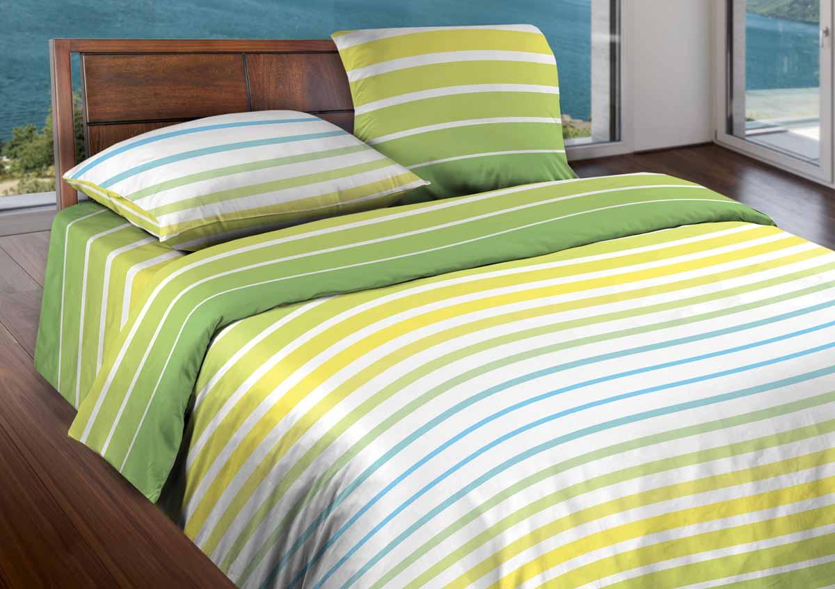 Комплект белья Wenge Stripe, 1,5-спальный, наволочки 70x70, цвет: светло-зеленый361813