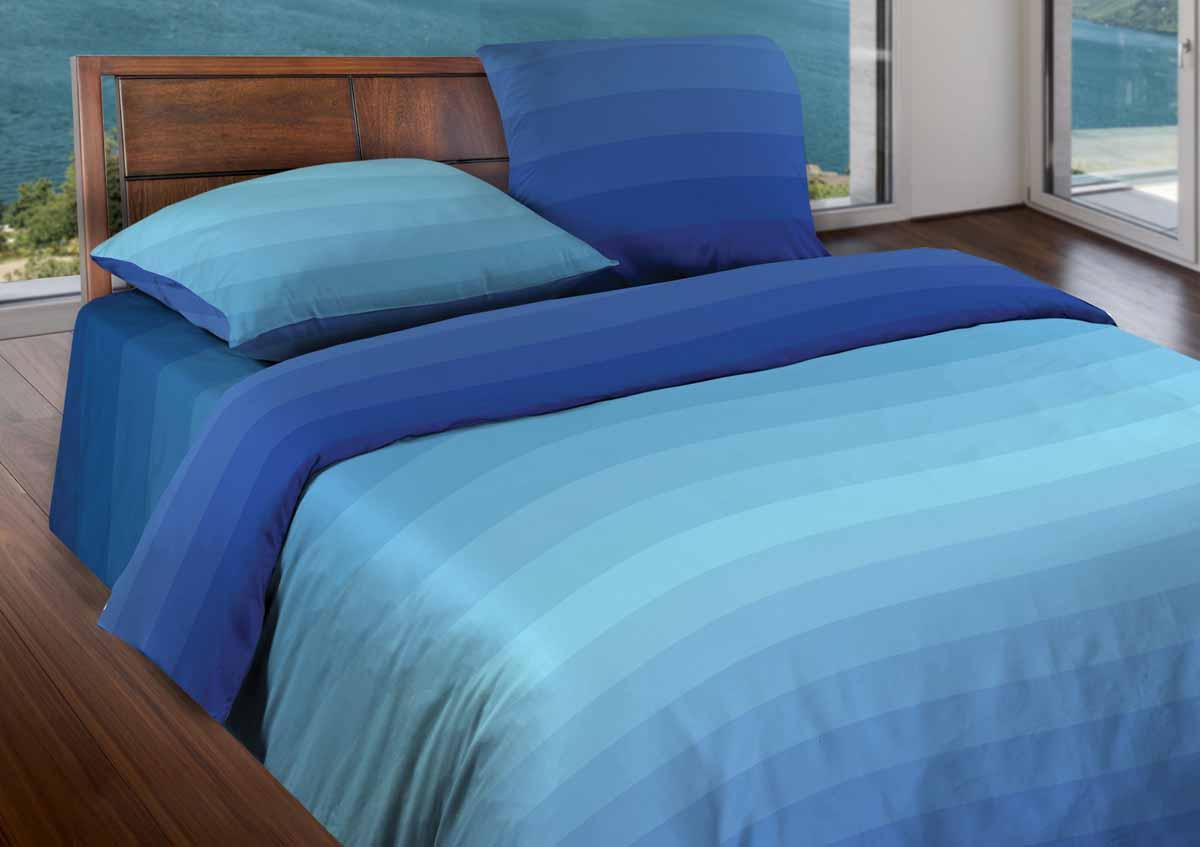 Комплект белья Wenge Flow, 1,5-спальный, наволочки 70x70, цвет: голубой361820