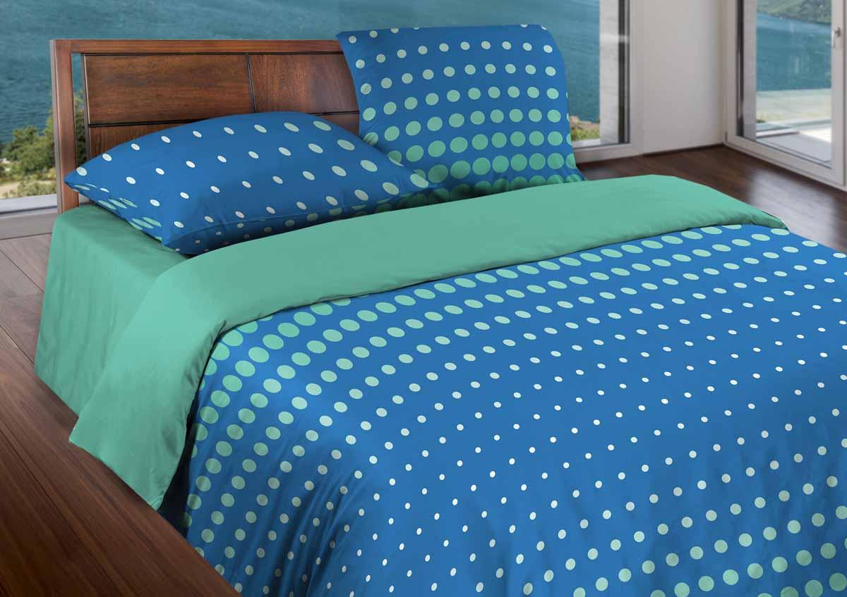 Комплект белья Wenge Dot Sea Blue, 1,5-спальный, наволочки 70х70361821Бязевое постельное белье состоит из 100% хлопка самого простого полотняного переплетения из достаточно толстых, но мягких нитей. Стоит постельное белье из этой ткани не намного дороже поликоттона или полиэфира, но приятней на ощупь и лучше пропускают воздух. Благодаря современным технологиям окраски, простыни не теряют свой цвет даже после множества стирок. По своим свойствам бязь уступает сатину, что окупается низкой стоимостью и неприхотливостью в уходе.