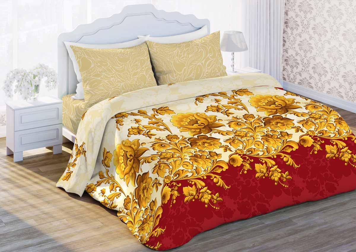 Комплект белья Любимый дом Русский узор, 2-спальный, наволочки 70x70, цвет: бежевый362969