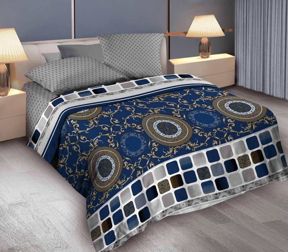 Комплект белья Wenge Bruno, евро, наволочки 70x70, цвет: синий364987
