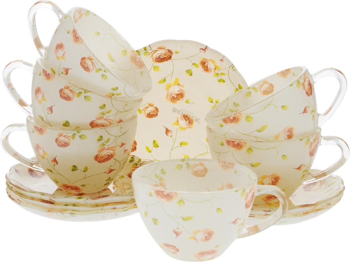 Набор чайный Bekker Koch, 12 предметов. BK-5855BK-5855Чайный набор Bekker Koch состоит из шести чашек и шести блюдец. Предметы набора изготовлены из прочного натрий-кальций-силикатного стекла и декорированы цветочным рисунком. Изящный чайный набор великолепно украсит стол к чаепитию и порадует вас и ваших гостей ярким дизайном и качеством исполнения. Не рекомендуется мыть в посудомоечной машине. Диаметр чашки (по верхнему краю): 9 см. Высота чашки: 6 см. Объем чашки: 200 мл. Диаметр блюдца: 13,5 см. Высота блюдца: 2 см.