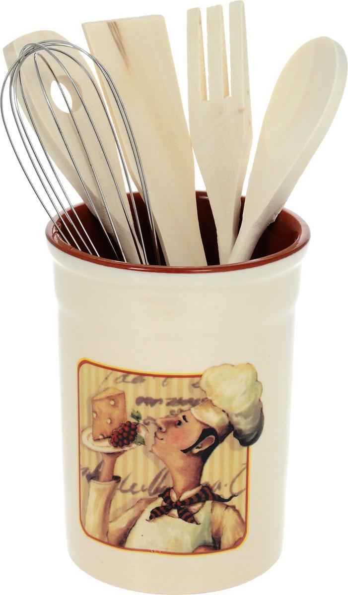 Подставка под кухонные инструменты с инструментами Шеф-повар. TLY302-2-CHEF-ALTLY302-2-CHEF-ALДостоинства керамической посуды, известные во всем мире: отсутствие выделений химических примесей, равномерный нагрев и долгое сохранение температуры позволяют придавать особый аромат пище, сохранять витамины и другие ценные питательные вещества. Изделия Terracotta идеально подходят для выпечки, приготовления различных блюд и разогревания пищи в духовом шкафу или микроволновой печи. Могут использоваться для хранения продуктов, в том числе в холодильнике. Мыть керамическую посуду рекомендуется теплой водой с небольшим количеством моющих средств. Лучше не использовать абразивные пасты и металлические мочалки. Допускается мытье в посудомоечной машине при соблюдении инструкции изготовителя посудомоечной машины. Посуда требует осторожности: защиты от сильного удара или падения. В наборах и отдельных предметах используются и другие виды материалов, вышеуказанные рекомендации применимы только к керамическим изделиям. Посуда торговой марки Terracotta совмещает в себе современные технологии...