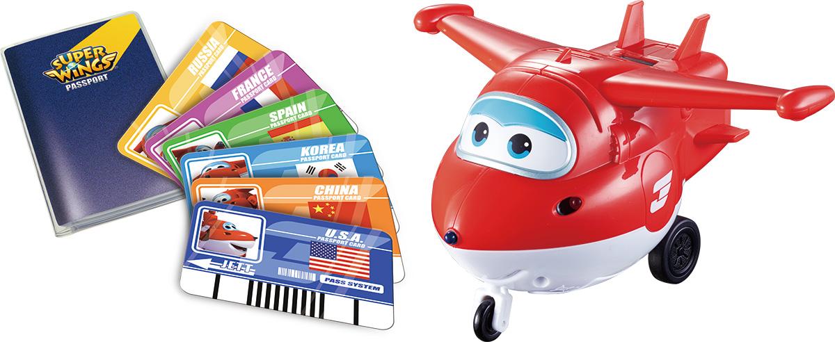 Super Wings Развивающая игрушка Джетт с пластиковыми карточками разных странYW710410Игра - самый легкий способ интересно познакомить ребенка со странами мира, расширив его кругозор. В комплект входят 6 карточек, соответствующих странам, которые запускают в Джетта и учат здороваться на разных языках.