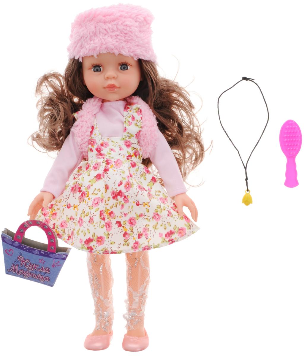 ABtoys Кукла Модница цвет платья розовый белыйPT-00371Очаровательная кукла ABtoys Модница станет лучшей подружкой вашей малышки. Куколка одета в розовую кофточку и белый сарафан, оформленный принтом в виде розовых цветов. На ногах куклы ажурные лосины и розовые туфельки. Модный образ дополняют меховая шапочка и жилетка. У куклы длинные темные волосы, которые можно расчесывать и заплетать из них различные прически. Вместе с куклой в набор входят расческа, картонная сумочка и ожерелье. Выразительный внешний вид и аккуратное исполнение куклы делает ее идеальным подарком для любой девочки. Порадуйте свою малышку таким великолепным подарком!
