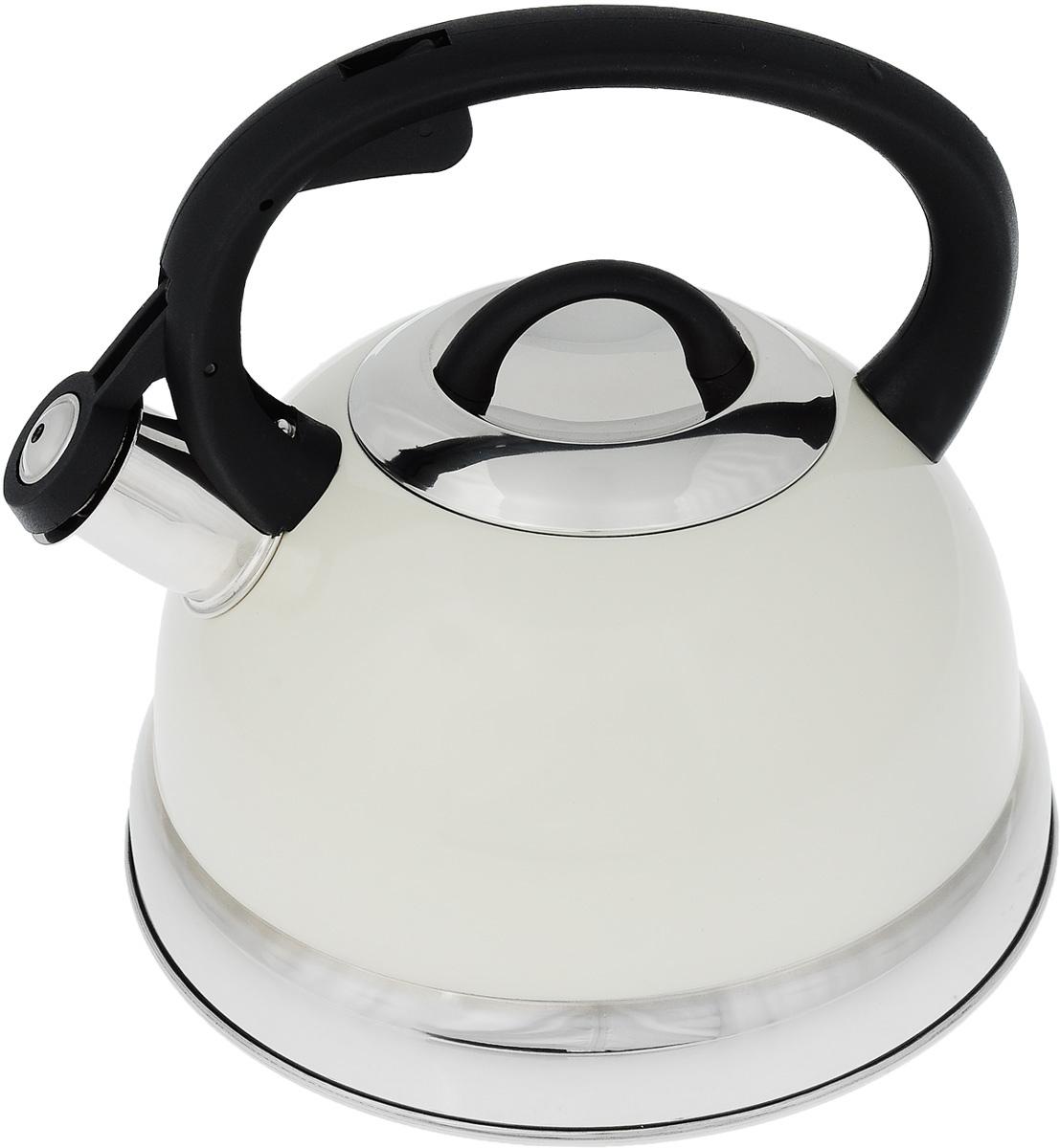 Чайник Mayer & Boch, со свистком, цвет: белый, черный, серебристый, 2,6 л. 2929Чайник Mayer & Boch выполнен из высококачественной нержавеющей стали, что делает его весьма гигиеничным и устойчивым к износу при длительном использовании. Носик чайника оснащен насадкой-свистком, что позволит вам контролировать процесс подогрева или кипячения воды. Фиксированная ручка, изготовленная из пластика, делает использование чайника очень удобным и безопасным. Поверхность чайника гладкая, что облегчает уход за ним. Эстетичный и функциональный чайник будет оригинально смотреться в любом интерьере. Подходит для всех типов плит, включая индукционные. Можно мыть в посудомоечной машине. Высота чайника (с учетом ручки и крышки): 20,5 см. Диаметр чайника (по верхнему краю): 10,5 см. Диаметр основания: 21 см. Диаметр индукционного диска: 14,5 см.