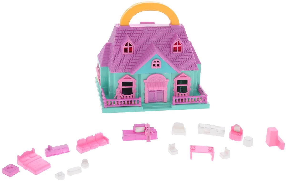 ABtoys Дом для кукол цвет сиреневый бирюзовый розовыйPT-00228Дом для кукол ABtoys с удобной ручкой для переноски просто необходим для веселой жизни ваших куколок! Дом имеет красивый фасад и оснащен откидными балконом и садом. В наборе имеется множество аксессуаров, которыми можно обустроить жилище. Набор поможет детям представить себя в роли дизайнера, занимающегося обстановкой и декором домика для любимой куколки, а также станет главным атрибутом для увлекательных сюжетно-ролевых игр. Набор выполнен из качественного и безопасного материала.