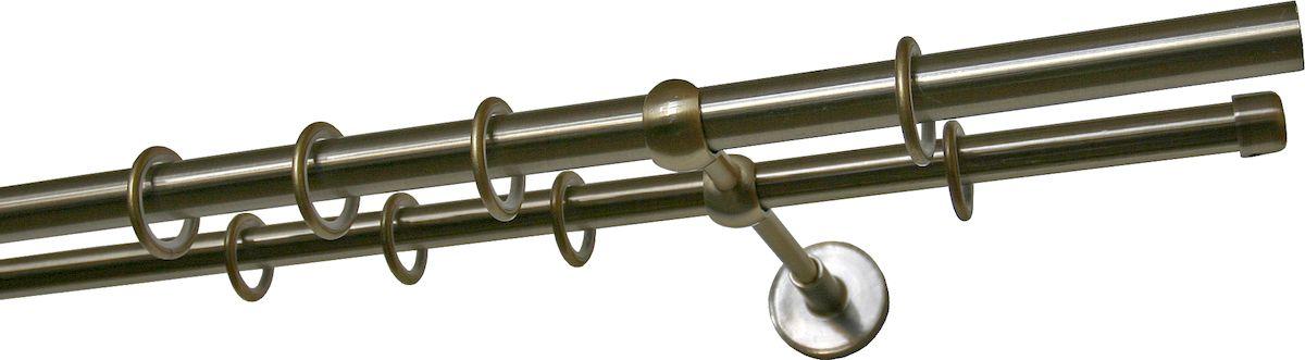 Карниз двухрядный Уют Ост, металлический, составной, цвет: бронза, диаметр 16 мм, длина 3,2 м17.02ТО.691К.320Двухрядный круглый карниз Уют Ост выполнен из цинко-алюминиевого сплава с гальваническим покрытием. Подходит для использования двух видов занавесей. Поверхность гладкая. Способ крепления настенное. Возможно сочетание штанг различных диаметров и цветов. В комплект входят 4 штанги, 2 соединителя, 3 кронштейна с крепежом и 64 кольца с крючками. Наконечники приобретаются дополнительно. Такой карниз будет органично смотреться в любом интерьере. Диаметр карниза: 16 мм.