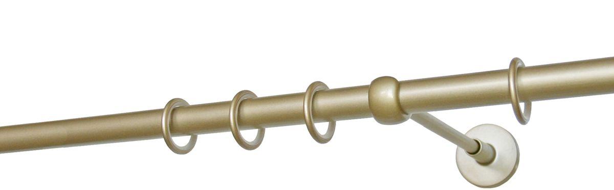 Карниз однорядный Уют Ост, металлический, цвет: шампань, диаметр 20 мм, длина 140 см22.01ТО.682.140Круглый карниз Уют Ост выполнен из цинко-алюминиевого сплава с гальваническим покрытием. Подходит для использования одного вида занавесей. Поверхность гладкая. Способ крепления настенное. В комплект входят штанга, 2 кронштейна с крепежом и 14 колец с крючками. Наконечники приобретаются дополнительно. Такой карниз будет органично смотреться в любом интерьере. Диаметр карниза: 20 мм.