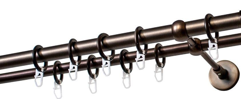 Карниз двухрядный Уют Ост, металлический, составной, цвет: шоколад, диаметр 20 мм, длина 2,8 м22.02ТО.684К.280Двухрядный круглый карниз Уют Ост выполнен из цинко-алюминиевого сплава с гальваническим покрытием. Подходит для использования двух видов занавесей. Поверхность гладкая. Способ крепления настенное. Возможно сочетание штанг различных диаметров и цветов. В комплект входят 4 штанги, 2 соединителя, 3 кронштейна с крепежом и 56 колец с крючками. Наконечники приобретаются дополнительно. Такой карниз будет органично смотреться в любом интерьере. Диаметр карниза: 20 мм.