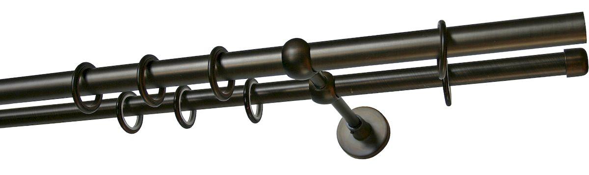 Карниз двухрядный Уют Ост, металлический, составной, цвет: шоколад, диаметр 25 мм, длина 3,2 м26.02ТО.654К.320Двухрядный круглый карниз Уют Ост выполнен из цинко-алюминиевого сплава с гальваническим покрытием. Подходит для использования двух видов занавесей. Поверхность гладкая. Способ крепления настенное. Возможно сочетание штанг различных диаметров и цветов. В комплект входят 4 штанги, 2 соединителя, 3 кронштейна с крепежом и 64 кольца с крючками. Наконечники приобретаются дополнительно. Такой карниз будет органично смотреться в любом интерьере. Диаметр карниза: 25 мм.