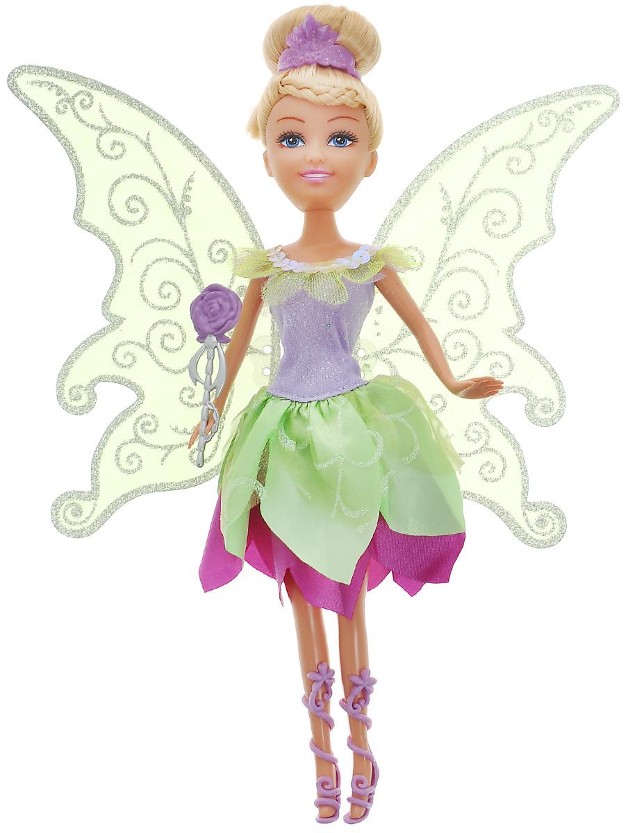 Funville Кукла Flutter Wings Fairy24048Очаровательная кукла Funville Flutter Wings Fairy непременно понравится вашей малышке и станет одной из ее любимых игрушек. Кукла одета в волшебное платье с блестящими полупрозрачными крылышками, которые можно с легкостью отстегнуть. Волосы у куклы светлые, убраны в изящную прическу и украшены фиолетовой диадемой. Голова, руки и ноги куклы подвижны. В комплект с куклой входят сандалии фиолетового цвета и пластиковый цветочек. Порадуйте вашу малышку таким замечательным подарком!