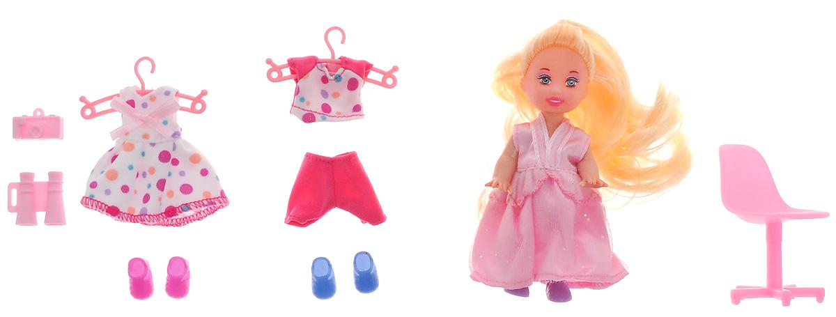 Defa Игровой набор с мини-куклой Happy Sairy Style цвет розовый белый6010dМини-кукла Defa Happy Sairy Style порадует вашу малышку и доставит ей много удовольствия от часов, посвященных игре с ней. Кукла с длинными светлыми волосами одета в блестящее розовое платье, а на ногах - фиолетовые ботиночки. В комплект с куклой входят различные аксессуары: 2 комплекта одежды, 2 пары обуви, стул, бинокль и фотоаппарат. Куклы, пожалуй, самые популярные игрушки в мире. Девочки обожают играть с ними, отправляясь в сказочную страну грез. Порадуйте свою малышку таким великолепным подарком!