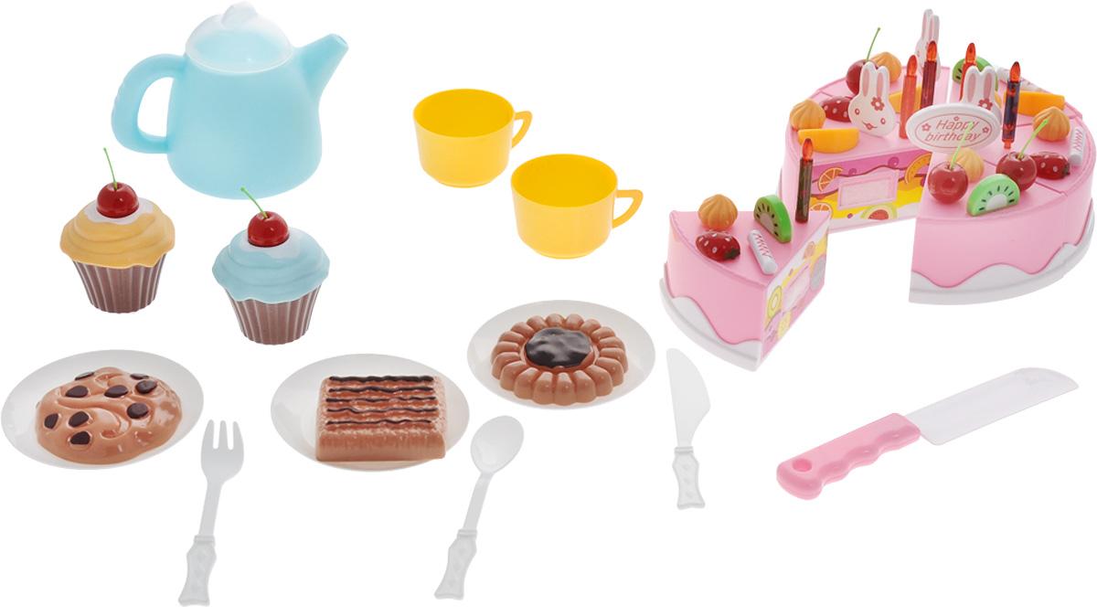 ABtoys Игрушечный набор Маленький кондитер 54 предметаPT-00278Игрушечный набор ABtoys Маленький кондитер включает в себя кусочки игрушечного торта, печенья, посуду и кондитерские украшения. Каждый элемент набора напоминает настоящую сладость: на них прорисованы бисквит и крем. Если собрать все кусочки воедино, то получится целый торт! Можно украсить его элементами фруктов и аксессуарами, изображающими животных, и подать на стол. Используя нож, входящий в набор, ребенок будет сам разрезать торт и угощать гостей. С помощью чайника и чашек можно заварить чай и подать его к угощению. Юный кондитер может предложить своим гостям разнообразное меню: помимо торта в комплект входят также печенье и пирожные-корзинки, украшенные фруктами. Выбирайте, что захотите! С таким набором ребенок будет воспитывать такие качества, как гостеприимство и хозяйственность.